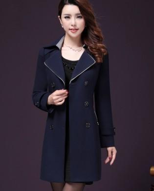 Áo khoác mangto xanh than cao cấp túi phối viền màu thời trang TA128