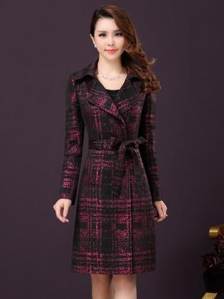 Áo khoác mangto kẻ phối màu thời trang TA129