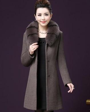 Áo khoác dạ cổ lông chồn phối kẻ thời trang TA263