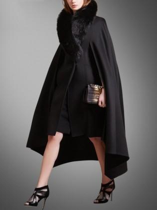 Áo choàng cape đen cổ lông cao cấp TA416