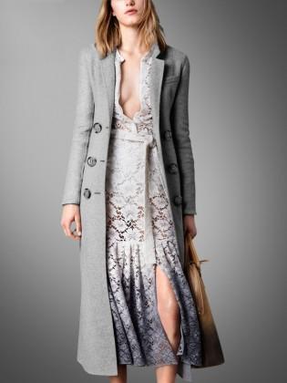 Áo khoác dạ ghi siêu dài 6 cúc tròn to thời trang TA419