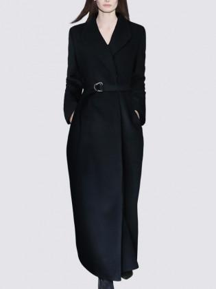 Áo khoác dạ đen dài phối khuy bấm trong  thời trang TA437