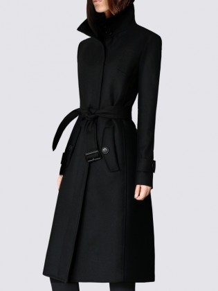 Áo khoác dạ váy màu đen cổ cao 2 khuy cao cấp TA436