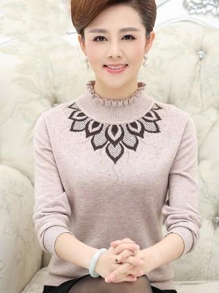 Áo len họa tiết Hàn Quốc cao cấp cổ nhún bèo thời trang TA461