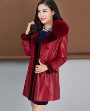 Áo khoác da thật cổ phối lông cao cấp TA323