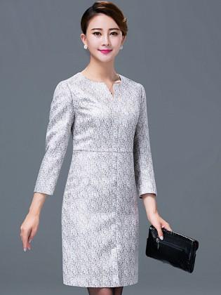Đầm liền thân đơn sắc chân váy xẻ vạt trước TV505