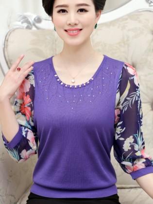 Áo len trung niên màu tím tay phối voan hoa đẹp TA498