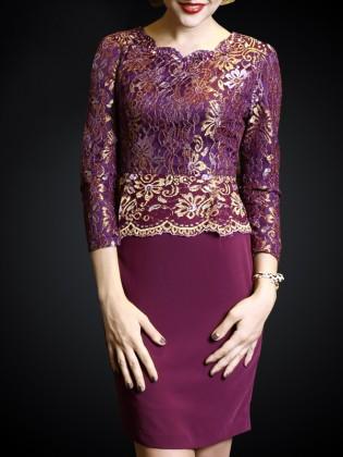 Đầm hoa ren phối chân váy 1 màu cao cấp TV473