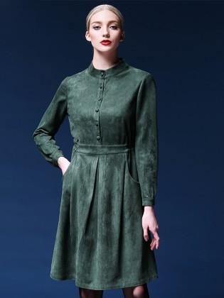 Đầm xanh lá dáng xòe hai túi trước thời trang TV519