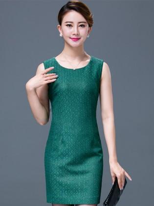 Đầm xanh lá họa tiết cổ tròn họa tiết  TV520