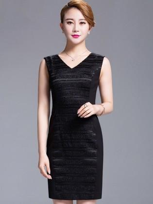 Đầm đen sát nách phối viền cổ chữ V cao cấp TV535