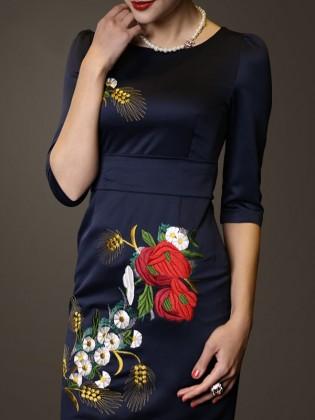 Đầm liền thêu hoa quý phái TV541