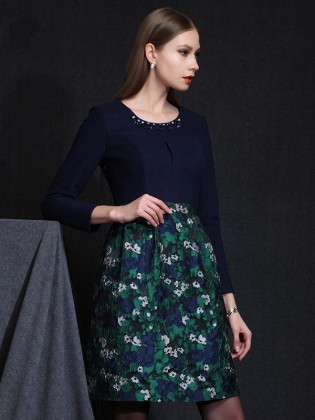 Đầm liền xòe chân váy hoa xanh đẹp TV572