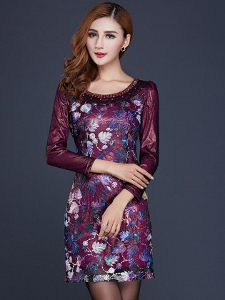 Đầm nhũ tím họa tiết sang trọng TV576