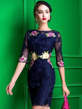 Đầm hoa gấm thêu tay voan cao cấp TV595 (Xanh than)