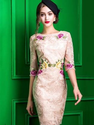 Đầm hoa gấm thêu tay voan cao cấp TV595 (Kem)