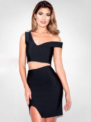 Set đầm rời body chân váy xẻ vạt quyến rũ TV721 (Màu đen)