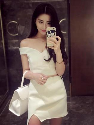 Set đầm rời body chân váy xẻ vạt quyến rũ TV721 (Màu trắng)
