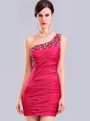 Đầm body lệch vai thân xếp li đính cườm đá sang trọng (dáng ngắn) TV767 (Màu hồng)