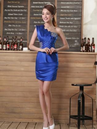 Đầm body lệch vai thiết kế xếp lớp đính đá cườm cao cấp (dáng ngắn) TV782 (Xanh coban)
