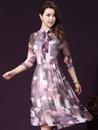 Đầm hoa voan xòe cổ nơ thời trang TV1011