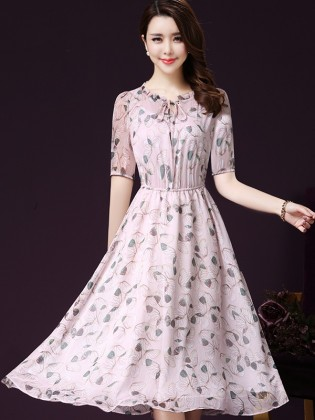 Đầm voan xòe họa tiết 2 lớp chun eo thời trang TV1012