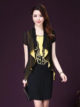 Set váy sát nách họa tiết cổ đá + áo voan khoác thời trang TV1021