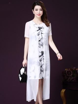 Set váy hoa + áo khoác mỏng dáng dài trang nhã TV1027