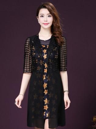 Set váy họa tiết sao+ áo voan khoác tay lửng sang trọng TV1034