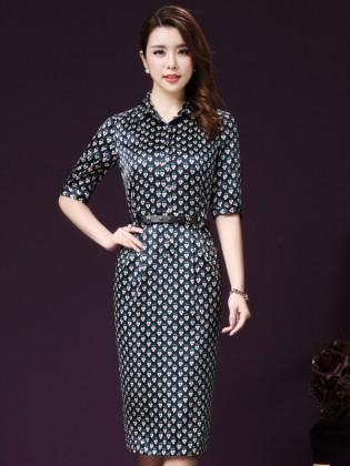 Đầm suông hoa tim dây lưng thời trang TV1035 (Màu xanh)