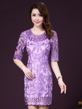 Váy tím thêu họa tiêt cao cấp cổ cách điệu TV1041