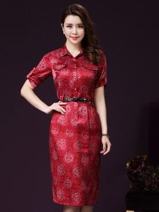 Đầm suông sơ mi giả túi cao cấp TV1044 (Màu đỏ)