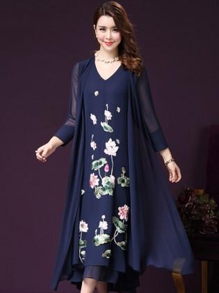 Set bộ váy voan thêu hoa + áo khoác voan dài cao cấp TV996