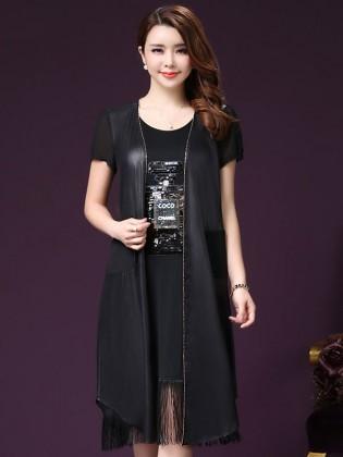 Set váy tua rua Coco Chanel +áo khoác voan cao cấp TV997