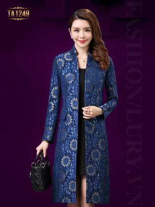 Áo khoác dạ dài hoa ren thêu nổi sang trọng TA1249 (Màu xanh)