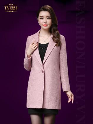 Áo khoác dạ hoa ren trơn cổ vest cao cấp TA1251 (Màu hồng)