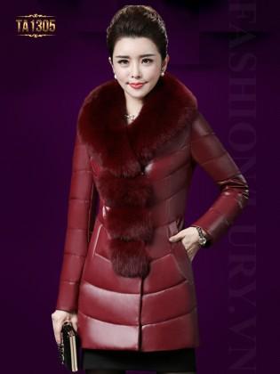 Áo phao khoác may trần cổ lông màu đỏ cao cấp TA1305