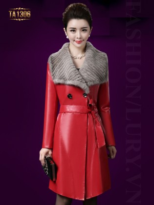 Áo khoác da trơn dài 2 cúc cổ lông thời trang TA1306 (Màu đỏ)