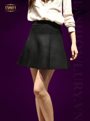Chân váy chữ A vân nổi đẹp CV601 (Xanh đen)