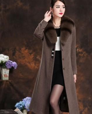 Áo choàng dạ cổ lông chồn cao cấp TA206 (Nâu)